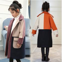 Брэнд шинэ  загварын охидын урт богино пальто